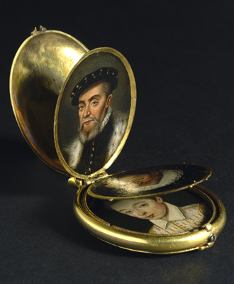 A locket containing eight family portrait miniatures, Dutch School