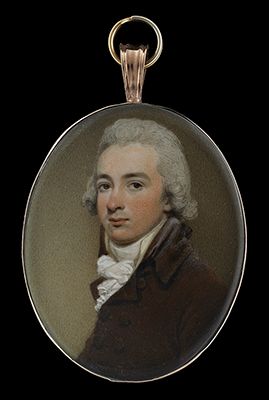 Portrait miniature of a Gentleman, wearing brown jacket, Henry Edridge