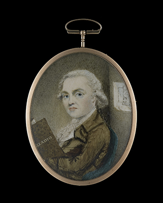 Portrait miniature of an architect, possibly James Craig (1739-1795), seated in a room with a copy of 'Palladio', an architectural plan on the wall behind, School Scottish