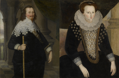 Portraits of Sir Jonathan Trelawny (1592-1664) 1st Bart., c.1630, and his mother Elizabeth, Lady Trelawny (née Killigrew), c.1580/90,  English School 17th Century