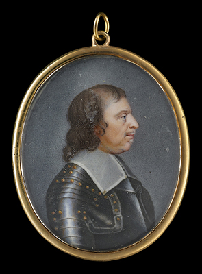 Portrait enamel of Oliver Cromwell (1599-1658), profile to the right, wearing gilt-studded armour and falling lawn collar,  English School