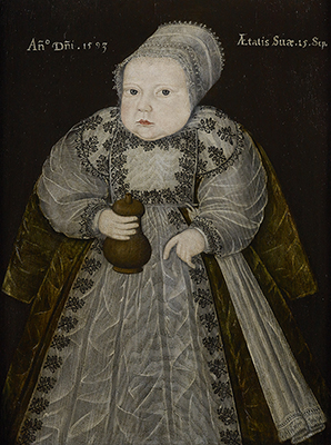 Portrait of a Baby aged fifteen weeks, holding a Wooden Feeding Bottle, 1593, 16th Century English School