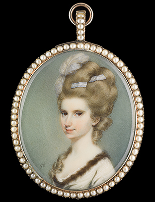 Portrait miniature of a Lady, wearing a fur-trimmed dress, with feathers and ribbon in her hair, George Engleheart