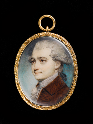 Portrait miniature of a Gentleman, wearing brown coat, waistcoat and stock, his hair powdered and worn en queue, George Engleheart