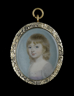 Portrait miniature of a young Girl, wearing white dress, the bodice looped with buttons and lilac-coloured sash, 1770s, George Engleheart