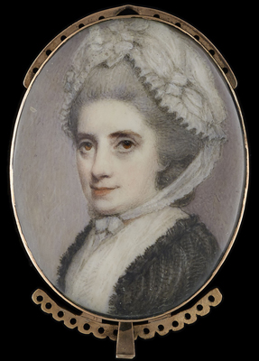 Portrait miniature of an Old Lady wearing a lace bonnet tied beneath her chin and a black shawl, George Engleheart