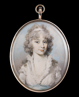 Portrait miniature of a Young lady, in white dress with high frilled collar, pale blue sash, drop pearl earring, white bandeau in her long powdered curling hair, late 1790s, George Engleheart