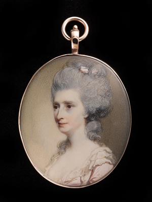 Portrait miniature of a Lady, wearing white trimmed pale pink dress, her hair powdered and decorated with pink ribbon, George Engleheart