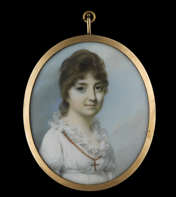 Portrait miniature of a Lady, wearing a white dress with high lace collar and a necklace with cross around her neck, 1780s, George Engleheart