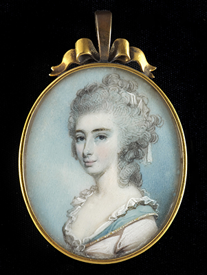 Portrait miniature of Lady Elizabeth Loftus (née Townshend) (1766-1811), wearing pale pink dress with gold edged blue collar and white lace trim, her powdered hair worn long and curling, George Engleheart