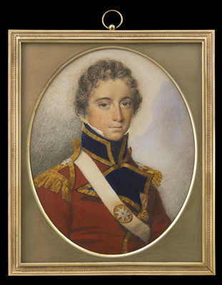 Portrait miniature of Lieutenant-Colonel George Collier (d.1814) of the Coldstream Guards, wearing scarlet coat with gold epaulettes, white cross belt with metal belt plate, and an unidentified medal, George Engleheart