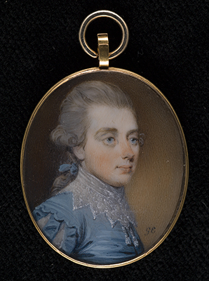 Portrait miniature of a young Gentleman, wearing blue suit with lace collar, his hair powdered and worn en queue, George Engleheart