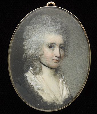 Portrait miniature of a Lady, wearing brown dress with black lace border and white fichu, black ribbon choker, her hair powdered, George Engleheart
