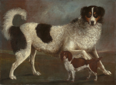 Newfoundland and Spaniel in a Coastal Landscape,  English School
