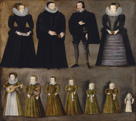 Group Portrait of a Family, traditionally identified as the Bartholomews of Burford, Oxfordshire,  English School c.1600