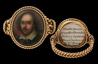 A portrait enamel of William Shakespeare (1564-1616), after the 'Chandos' portrait, mounted in a gold ring, 1854, William Essex