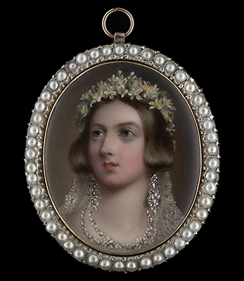 Portrait enamel of Queen Victoria (1819-1901), wearing wedding attire, white lace veil, a wreath of orange blossoms, Turkish diamond earrings and necklace, William Essex