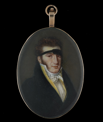 Portrait miniature of a Gentleman wearing a support,  French School