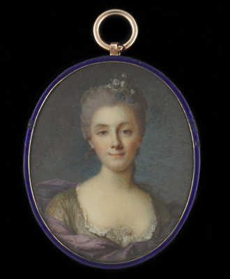 Portrait miniature of a Lady, wearing brown dress with white chemise and purple cloak, flowers in her upswept powdered hair,  French School