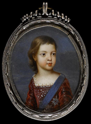 Portrait Miniature of James Francis Edward Stuart (1688-1766), 'The Old Pretender', as a child.,  French School
