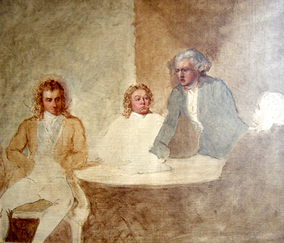 A Meeting of Maximilien de Robespierre (1758 - 1794), Louis Saint-Just (1767 - 1794) and Georges-Jacques Danton (1759 - 1794).,  French School