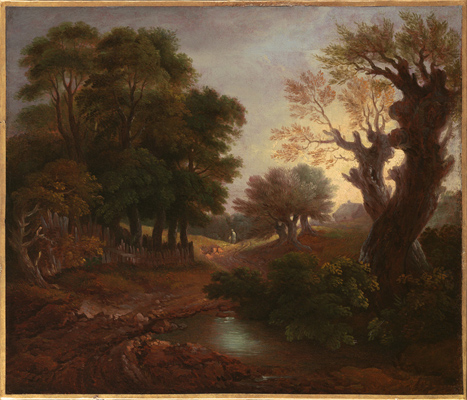 Wooded Landscape with Figures, Cottage and a Pool, Thomas Gainsborough RA