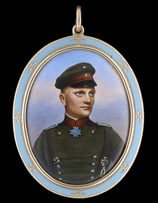 Portrait enamel of Rittmeister Manfred Albrecht, Freiherr von Richthofen (1892-1918), 'The Red Baron', German School