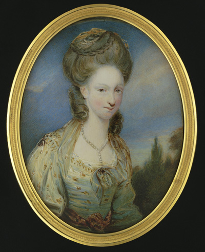 Portrait miniature of Elizabeth Moffat, Lady Mills (b.1756), wearing gold embroidered dress with crimson sash, her powdered hair crowned with pearls and matching turban, William Grimaldi