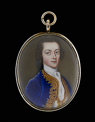 Portrait enamel of Walter Edwards Freeman (d.1758), wearing a blue coat with gold embroidery facings, white waistcoat trimmed with gold embroidery and white cravat, his hair worn en queue, 1758, Andreas Henry Groth