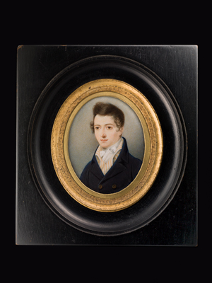 Portrait miniature of Master Curtis, wearing blue coat and cream and orange striped waistcoat, William Gwynn