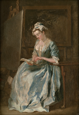 Portrait of a Lady reading, possibly the artist's first wife, Francis Hayman