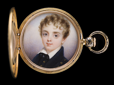 Portrait miniature of George Herbert Griffies Williams (1818-1833), wearing dark blue coat and waistcoat with brass buttons, 1833, Called 'Herman'