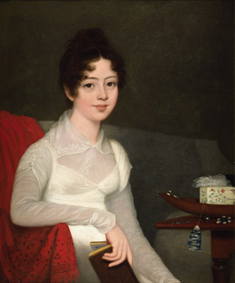 Portrait of a Young Lady seated by her Work Table, Robert Home