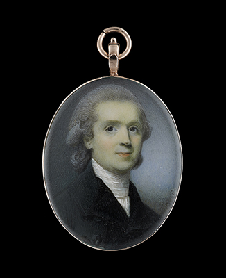 Portrait miniature of George Hall, Bishop of Dromore (c.1753–1811), wearing black coat and white stock, his hair powdered, Horace Hone
