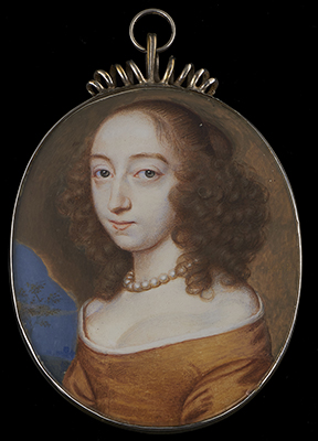 Portrait miniature of a Lady, thought to be Lady Mary Finch, (née Seymour) (1628-1672), wearing ochre gown, white chemise and pearl necklace, her brown hair worn curled, set in a cave and landscape background, 1654, John Hoskins the Younger