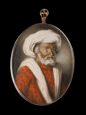 A portrait miniature of an Indian Gentleman, wearing red patterned jama (robe) and white loose turban, painted circa 1787, Ozias Humphry RA