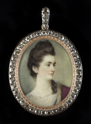 Portrait miniature of Miss Kennedy wearing white dress and ermine-trimmed plum cloak draped over her left shoulder, her dark hair loosely braided and partially upswept, Ozias Humphry RA