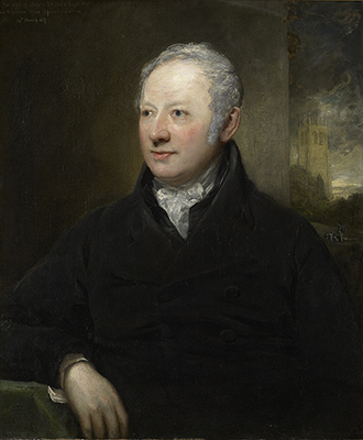 Portrait of John Bridge (1755-1834), with Piddletrenthide Church in the background, John Jackson