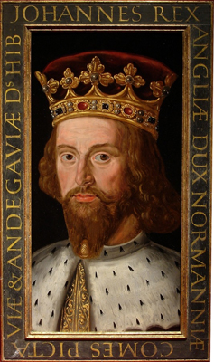 Portrait of King John (1166 - 1216) from a set of eight medieval Kings, Renold Elstrack, or after