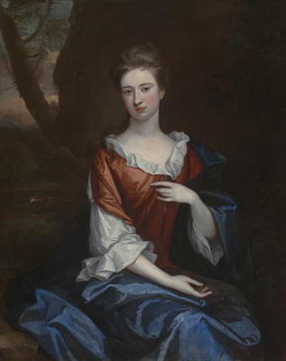 Portrait of a Lady in a red dress, Sir Godfrey Kneller Bt.