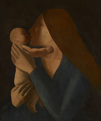 Portrait of a Mother and Child Embracing, Jacob Kramer