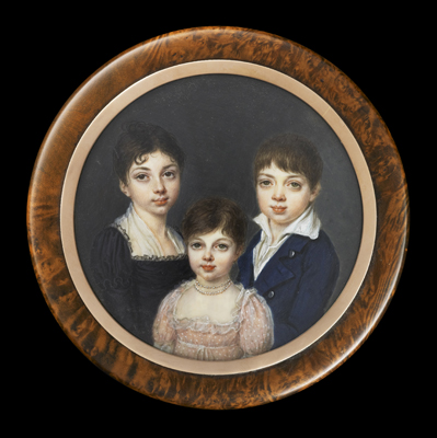Portrait Miniature of three children, two girls and a boy, Mlle Jeanne-Philiberte Ledoux