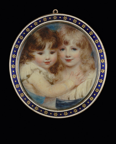 Two children embracing, wearing white chemises with blue sashes, Anne Mee (née Foldsone)