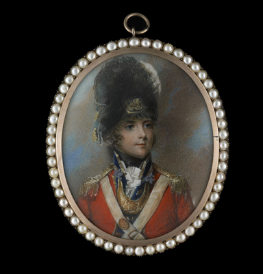 Portrait miniature of Lt. Col. Thomas Grosvenor (1764-1851) wearing the uniform of the Grenadier Company of the 3rd Foot Guards, Anne Mee (née Foldsone)