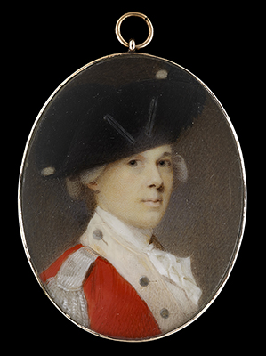 Portrait miniature of an Officer of an British or East India Company regiment, wearing scarlet coat with buff facings, silver lace epaulette and bicorn hat, Jeremiah Meyer RA