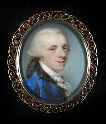 Portrait enamel of Sir Richard Neave, 1st Baronet of Dagenham, Essex (1731-1814) wearing blue coat with black collar, white lace cravat and powdered wig, worn en queue and tied with broad black ribbon, Jeremiah Meyer RA