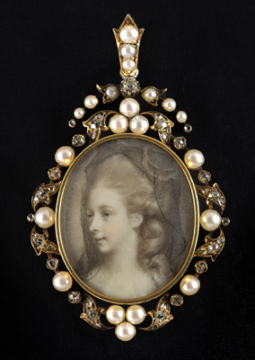 Portrait miniature of a Lady of the Fitzgerald family, Jeremiah Meyer RA