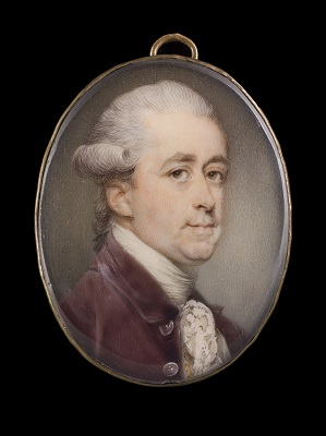 Portrait miniature of a Gentleman in a plum coat with gold embroidered white waistecoat and lace cravat, his wig powdered and worn en queue, Jeremiah Meyer RA