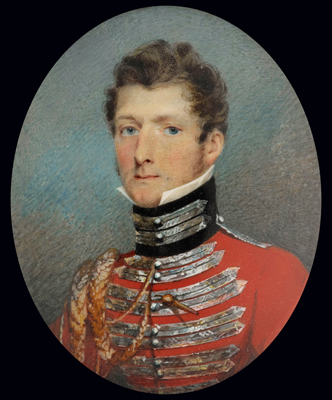 Portrait miniature of an Officer, possibly a member of the Lindsell family wearing a uniform resembling that of the 2nd (or Queens) Dragoon Guards, James Heath Millington