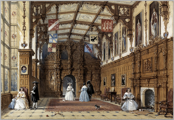 The Great Hall at Audley End, Joseph Nash